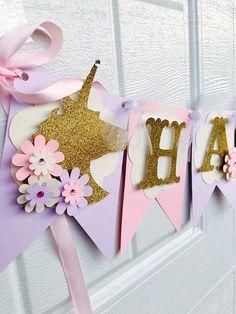 Banner de cumpleaños de unicornio unicornio bandera fiesta
