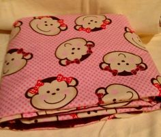Monkey Baby Girl Receiving Blanket Swaddling Blanket Oversize flannel