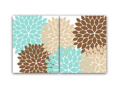 Home Decor Wall Art Aqua and Gray Flower Damask Wall by bedbuggs ...
