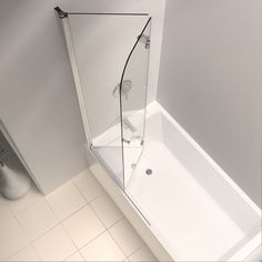 DreamLine AquaFold 36 in. x 58 in. Semi-Framed Pivot Tub/Shower Door in Chrome S… DreamLine AquaFold 36 in. X 58 in. Semi-Framed Pivot Tub / Shower Door in Chrome at The Home Depot – Mobile Tub Shower Doors, Bathtub Doors, Tub Shower Combo, Bathtub Shower, Shower Panels, Bathtub With Glass Door, Glass Doors, Bathroom Tubs, Half Glass Shower Wall