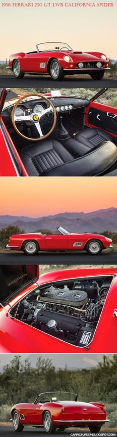 Car Pictures: 1958 Ferrari 250 GT LWB California Spider by Scagl. Confused when want choice California automobile insurance company? Classic Sports Cars, Classic Cars, Retro Cars, Vintage Cars, Vintage Style, Supercars, Automobile, Ferrari Car, Ferrari 2017