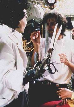 Johnny Depp and Tim Burton filming Edward Scissorhands