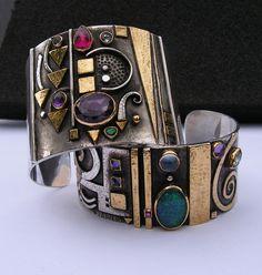 Cuffs | Linda Ladurner.  Silver, gold, opal, iolite, amethyst, pink tourmaline, emerald, moonstone