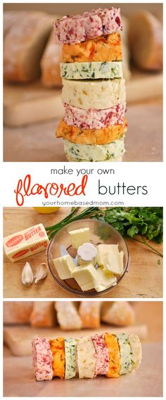 How to:  Make your own Flavored Butters!  The possibilities are endless with flavored buttes. So many flavor combinations. Flavored butters are wonderful on bread, pancakes, waffles, meat and fish.