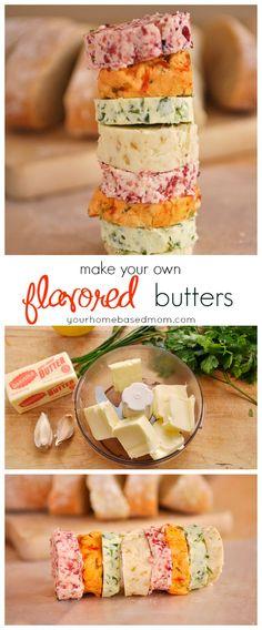 Fig Butter, Cranberry Butter, Garlic Herb Butter, Roasted Red Pepper Butter.
