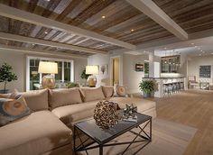 Basement Design. Chic basement with bar and reclaimed ceiling. #Basement #BasementIdeas #BasementDesign #ManCave