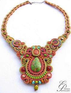 Soutache necklace in autumn colors green cinnamon and mauve soutache jewelry  gift for her unique art jewelry winter trend by EditBeadIt on Etsy https://www.etsy.com/listing/208602223/soutache-necklace-in-autumn-colors-green