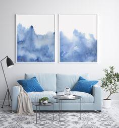 Blue Accent Walls, Blue Bedroom Walls, Light Blue Walls, Blue Rooms, Bedroom Decor, Blue Wall Decor, Blue Home Decor, Blue Abstract, Abstract Wall Art