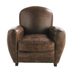 Fauteuil club vintage marron  Oxford