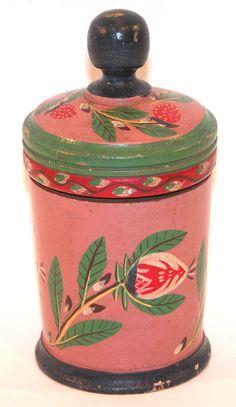 .Joseph Lehn (Lancaster, Pennsylvania 1798-1892), turned and painted lidded jar  Provenance: Sotheby's, January 26, 1989.