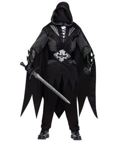 FunWorld Evil Knight Complete Costume: Includes black tunic with silver metal look sleeves, an attached cape, oversized hood with hidden face feature, matching gloves, and belt