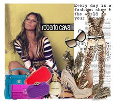 """""""Just Cavalli : Prints + Snakes & Colors."""" by mercanici ❤ liked on Polyvore featuring Roberto Cavalli, bustier tops, animal print, snakeskin, leggings and cavalli"""