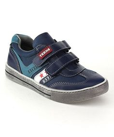Navy Double-Strap Leather Sneaker