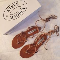 Steve Madden sandals Steve Madden WERKIT tan suede sandals in size 7. Intertwine/wraps around foot that can be tied at the back. Steve Madden Shoes Sandals