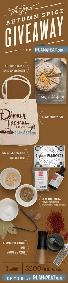 Now is your chance to explore those spices you are afraid to use! Plan to Eat is hosting a giveaway that includes the book Sugar and Spice, 20 spices from Old Town Spice shop (an awesome artisan spice shop in Fort Collins, CO), 1 year of meal planning with Plan to Eat, and more! Click the pin to enter.
