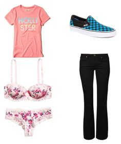 """Untitled 5181"" by rosamariagonzales ❤ liked on Polyvore featuring Hollister Co., H&M, Mavi and Vans"