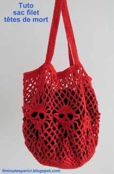 Filet Crochet, Crochet Skull Patterns, Crochet Market Bag, Knitting Yarn, Macrame, Diy And Crafts, Couture, Tote Bag, Purses