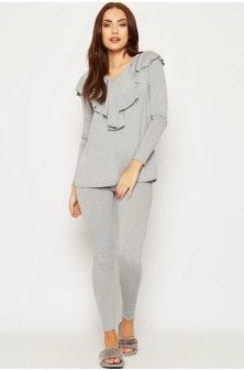 Sidney V-Neck Frill Loungewear Set-86553-20