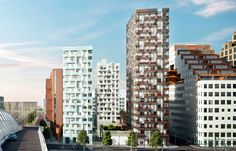 'B13' - part of Oslo, Norway's Barcode Project; four residential towers scheduled for completion in 2014 and 2015; designed by Lund Hagem Architects and A-lab