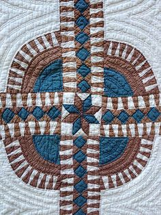 Detail, Antique NEW York Beauty Quilt C1880 Teal Brown Patchwork NOT Paper Pieced Rare | eBay, karmachanic