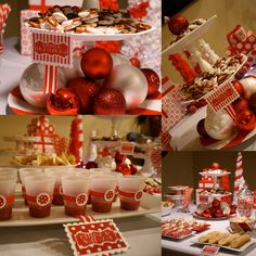 """Pinner says """"Wonderful Christmas party decor. I love putting the ribbon around the super cheap plastic cups to jazz them up! So easy with a couple glue dots! Christmas Time Is Here, Christmas Goodies, All Things Christmas, Christmas Holidays, Christmas Ideas, Christmas Brunch, Christmas Party Decorations, Xmas Party, Holiday Parties"""
