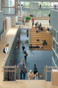 International School The Plaza – Educational Architecture Architecture Design, Education Architecture, School Building Design, School Design, Atrium, International School, Library Design, Learning Spaces, Primary School