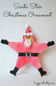 Christmas Crafts for Kids: Santa Star Homemade Christmas Ornament~ Buggy and Buddy could be elf star, too Christmas Crafts For Kids To Make, Teacher Christmas Gifts, Preschool Christmas, Christmas Activities, Felt Christmas, Homemade Christmas, Christmas Projects, Christmas Themes, Father Christmas