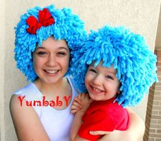 Items similar to Halloween Costume, Thing 1 Thing 2 inspired Wigs, Blue Wig, Adult Costumes, Costumes for kids on Etsy Twin Halloween, Cool Halloween Costumes, Halloween Party, Crochet Beanie, Crochet Hats, Thing One Thing Two, Yarn Wig, Dr Seuss Day, Blue Wig
