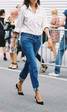 Dressing minimalistic isn't only chic, it's affordable. Here are fashion staples you should have in your closet for great sartorial every day looks. This white button down paired with jeans and black suede pumps is a great go-to look.
