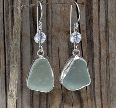 aqua sea glass earrings by cozycovestudio, via Flickr