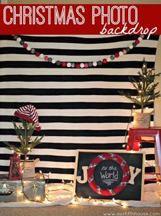 Want to use a B&W striped backdrop like this, add neon pink props like heart-shaped cushion and prepare gold sharpies for guests to write on the instant prints!