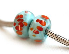 Blue and orange European charms, Large Hole beads, Turquoise Glass beads, Handmade lampwork, Bracelet beads, SRA, by MayaHoney by MayaHoneyJewelry on Etsy