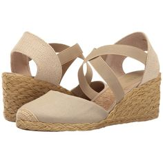 LAUREN Ralph Lauren Casandra (Cream) Women's Wedge Shoes ($69) ❤ liked on Polyvore featuring shoes, sandals, slip on sandals, leather wedge sandals, leather espadrilles, criss cross wedge sandals and leather sandals