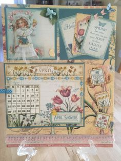 April calendar using Graphic 45 Time to Flourish papers.