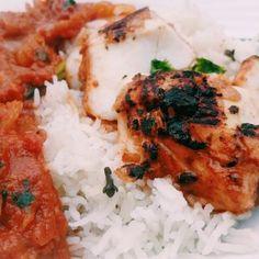 Torsk tikka med nellikris Risotto, Grains, Rice, Meat, Chicken, Ethnic Recipes, Food, Essen, Meals