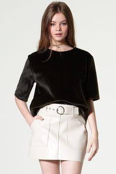 Chen Belt Leather Skirt Discover the latest fashion trends online at storets.com #skirt #mini #leather