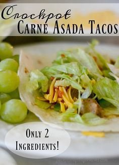 asada tacos This week couldnt be more simple! These Crockpot Carne Asada Tacos are number 5 on our super easy crockpot meals! Can make more and freeze for later too! Meat Recipes, Slow Cooker Recipes, Crockpot Recipes, Dinner Recipes, Delicious Recipes, Dinner Ideas, Easy Family Dinners, Cheap Dinners, Easy Meals