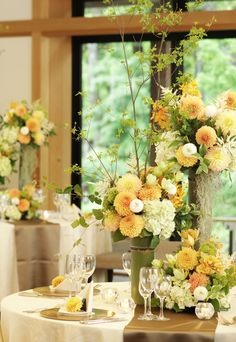 #tokugawaen#novarese#vressetrose#Wedding #japanese #table #Flower #guesttable#Bridal#徳川園# ブレスエットロゼ #ウエディング# 和風 #和装 # ゲストテーブル#トーション #テーブル # 花#テーブルコーディネート#ブライダル#結婚式#ナチュラル#ブレスエットロゼ名古屋#ダリア#オレンジ Table Flower Arrangements, Floral Centerpieces, Wedding Centerpieces, Wedding Decorations, Table Decorations, Wedding Table Flowers, White Wedding Flowers, Yellow White Wedding, Japanese Table