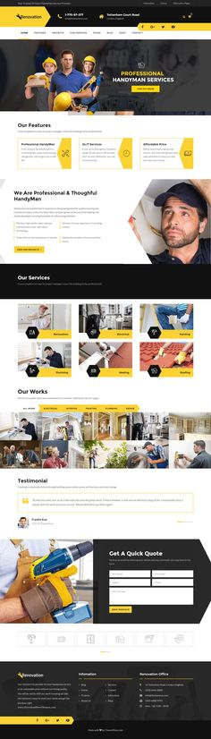 Renovation is a responsive HTML template with #handyman service showcases. Perfect for electrical service, plumbing, painting, door repair, roofing, drywall or interior maintenance #Website. #HTMLTemplates