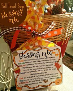 treat bags blessing mix One of our favorite fall and Thanksgiving treats is Blessing Mix! Mix it up and pass along some love to someone this fall! If you'd like to print snack mix labels, you can use Avery 8164 ship… Fall Treats, Holiday Treats, Holiday Fun, Fall Snacks, Halloween Treats, Holiday Foods, Halloween Party, Fall Party Treats For Kids, Holiday Desserts