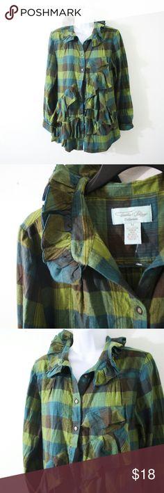 "Tasha Polizzi Plaid Button Down Shirt Size M. Bust ""38"", length ""28"". Lovely plaid shirt by Tasha Polizzi featuring a ruffled pattern. Anthropologie  Tops Button Down Shirts"