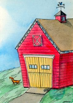 Original ACEO Painting  Red Barn by PainterNik on Etsy