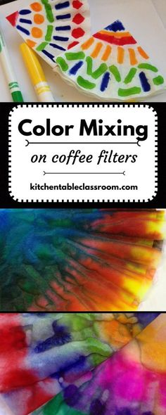 Color Mixing on Coffee Filters- Primary colors are one of the first art concepts I like to introduce young kids to in art. First, because they are a basic building block for for understanding how to make all kinds of things. And second, because mixing colors is kind of magical. Color mixing on coffee filters is a fun introduction to what happens when those primary colors mix together! More