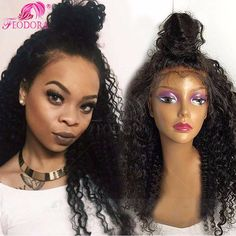 Unprocess Full Lace Wigs Virgin 7A 4x4 Silk Top Lace Front Wigs Curly For Black Women 180% Density Human Hair Lace Front Wigs