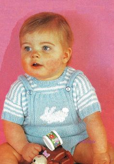 VIINTAGE knitting pattern pdf babies top and rompers by EstherKateVintage on Etsy