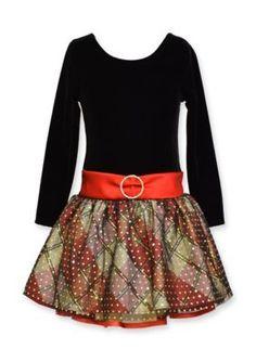 Bonnie Jean  Solid to Plaid Drop Waist Dress Girls 4-6x
