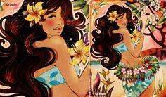 Kat Reeder Design and Illustration Hawaiian Girls, Hawaiian Tropic, Hawaiian Art, The Night Is Young, Polynesian Art, Blue Hawaii, Hula Girl, Tropical Paradise, Vintage Beauty