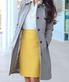 winter work outfit mustard pencil skirt lady day coat