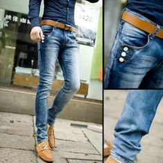 Men's Outfits with Skinny Jeans. Skinny jeans have been in the trend long enough to become a valuable fashion asset for those who love being up to date since fashion could be so demanding. Denim Leggings, Leggings Are Not Pants, Men's Jeans, Jeans Button, Look Fashion, Mens Fashion, Fashion Design, Fashion 2014, Traje Casual