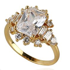 Yueli Women's 18K Gold Zircon Ring J0557 – USD $ 19.95